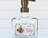 Cottage Garden Soap Dispenser | Chic Bathroom Decor | French Country Glass Soap Dispenser | Choose Your Metal Soap Pump