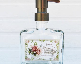 Glass Soap Dispenser Pump | Country Chic Decor | Liquid Soap Dispenser Bottle | Bathroom Accessories | Bathroom Supplies | Soap Container