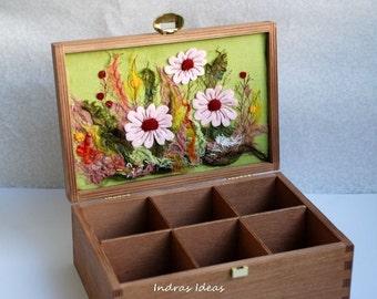 Tea Box   Rustic home decor  Embroiderd gift   Wooden tea box   tea bag storage   Kitchen Box   Kitchen Organizer   tea bag box   Recipe Box