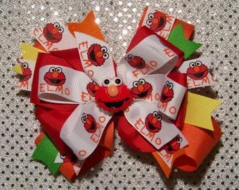 ELMO Hair Bow or Headband / Red / Orange / White / Quad Stacked / 123 Sesame Street / Big Bird / Infant / Baby / Girl / Toddler / Boutique