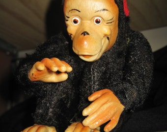 Vintage Stuffed Monkey Plush With Rubber Face, Hands, and Feet - Japan