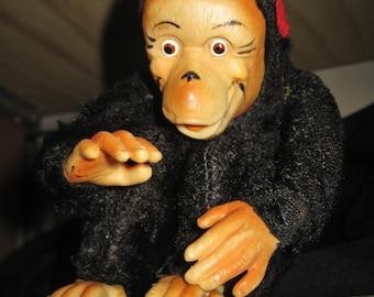 Vintage Rubber Faced Plush Monkey - Japan