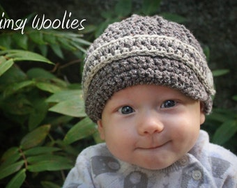 Newsboy Crochet Hat Pattern: 'Max Newsboy', with Crochet Bow Tie