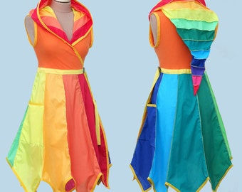 Rainbow* Knee Length Tournedot Dress With Pixie Hem. 12 stripe positively pixie hood/sleeveless