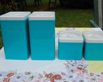 free ship Vintage canisters AQUA Lincoln Beautyware FLOUR sugar COFFEE tea set of 4
