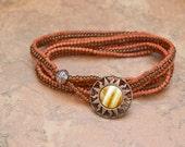 BRACELET Southwest Sunset Triple Wrap Adobe Seed Bead and  Copper Bracelet - SRAJD Teal Eve's tealeves