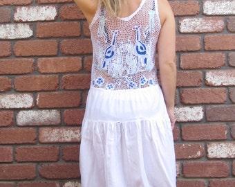 1970s Original Boho Beach Baby White CutOut Mini Dress