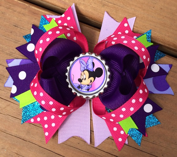 Hair Bow Boutique Style Spring / Summer Minnie Mouse Bottle Cap Bow ...