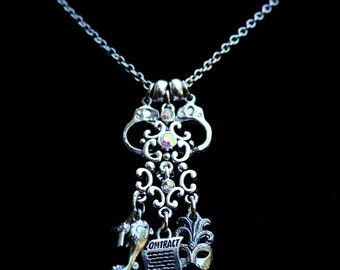 Fantasy Theme Charm Necklace - Fetish - Handcuffs - Masquerade - Costume - Book Pendant - Roll Play - Adult Romance - Character Pendant