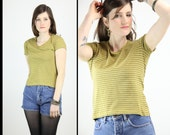 90s STRIPED Stretchy Cropped Grunge MUSTARD T Shirt top, large