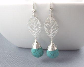 turquoise blue teardrop earrings and silver leaf bridal jewelry  drop long dangle bridesmaid earrings