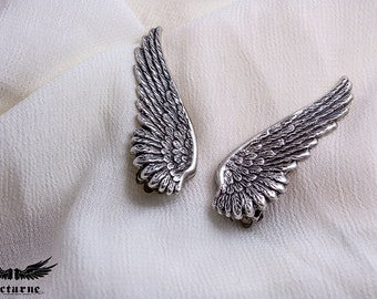 Statement Earrings - Birthday Gift for Her - Silver Wing Earrings - Big Earrings - Clip on Earrings - Victorian Jewelry
