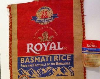 Royal Basmati Empty Rice Burlap Bag for Upcycling or Crafting