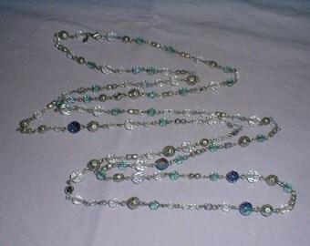 vintage premier designs necklace plastic aurora borealis crystal beads blue silver beads long necklace