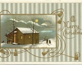 """Antique Postcard """"A Merry Christmas"""" A beautiful Winter Scene Couple Walking in Moonlight Gold Bells 1911"""
