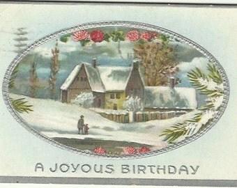 Country Winter scene Farmhouse Red Clover Snow Vintage Postcard 1911 A Joyous Birthday