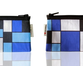 BLUE and BLACK geometric wallet with squares - coin purse for women for her gift idea