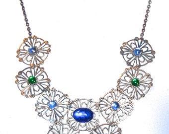 Huge Showy NOS Vintage 1970s Jeweled Filigree Necklace