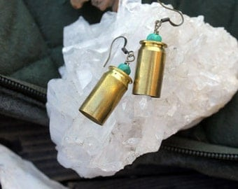Earrings - Shell Casing Jewelry - Recycled Jewelry - Turquoise Earrings