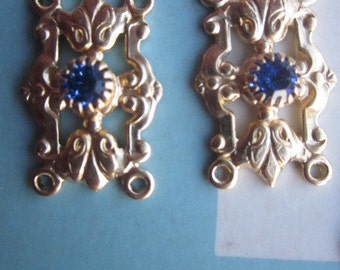 Vintage Sapphire Swarovski Crystal Connector Finding