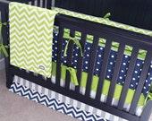 RUSH ORDER - RESERVED for Lindsey - Baby Boy Crib Bedding Set, Green, Navy Blue Nursery