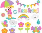 spring clip art rain rainbow flowers butterfly - Happy Spring Clip Art