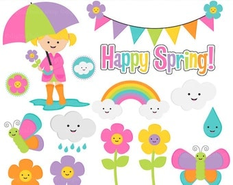 spring clip art rain rainbow flowers butterfly - Happy Spring Clip Art
