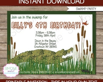 Swamp Invitation Template - Birthday Party - INSTANT DOWNLOAD with EDITABLE text - you personalize at home