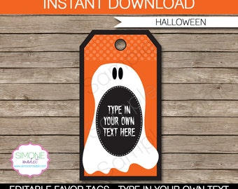 Halloween Favor Tags or Treat Tags - INSTANT DOWNLOAD and EDITABLE template - type your own text in Adobe Reader