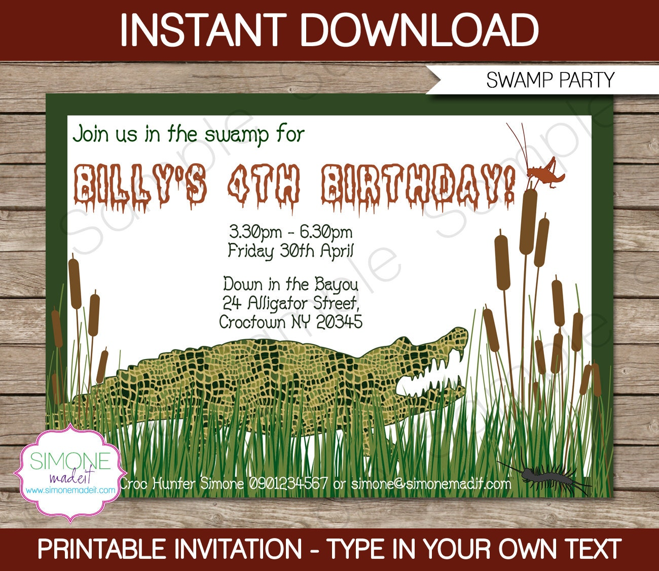 swamp invitation template birthday party instant download