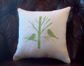 Bird Pillow - Burlap Pillow - Chickadees in a Tree - Burlap Decorative Accent Pillow - Whimsical Pillow - Woodland Pillow - Two Birds Pillow