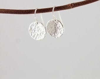 Sterling silver earrings: modern jewelry, simple earrings, classic round dangles, silver hammered earring, metalwork