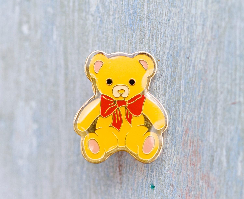 Yellow Teddy Bear Badge Cute Lapel Pin