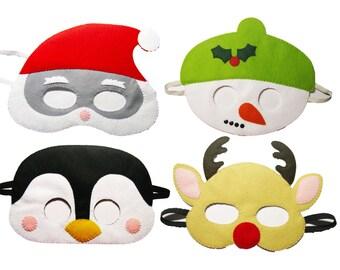 4 felt Christmas masks party favors pack - Santa Snowman Reindeer Penguin - winter Dress up play costume Handmade gift for family kid adult