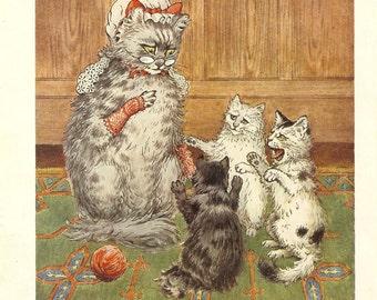 Vintage 1925 Children's Print  Mother Cat Mob Cap Fingerless Gloves Scolding HerThree Kittens Kittens Wailing Book Plate Book Illustration