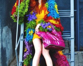 "Jacket coat crochet lace designer tapestry wool boho gypsy hippy flowers disco 70s ""Kid of flowers"""