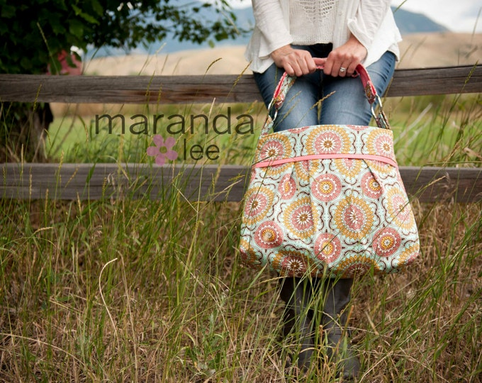 Stella Medallion Diaper Bag - Large - Doily Mint with Coral Peach- 6 pockets -Adjustable Strap- Bay Gear- Attach to Stroller