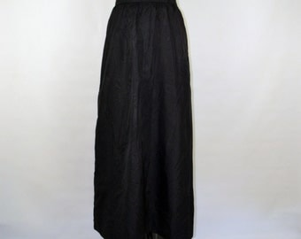 1970s Black Taffeta Maxi Skirt by The Wilroy Traveller, Brownstone Studio