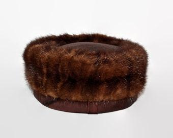 Vintage Midcentury Mink Pillbox Hat