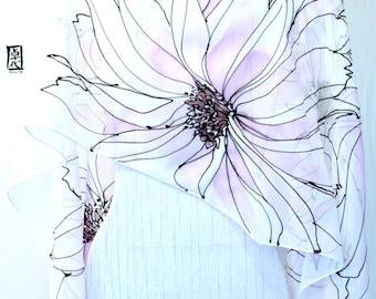 Chiffon Scarf,  Boho bridal shawl, Bridal Chiffon Shawl, Hand Painted Silk, White Wedding Shawl, Pink Anemone Floral, Takuyo, 22x90 inch