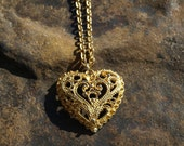 Vintage Heart Filigree Pendant
