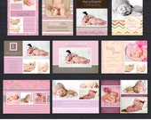 INSTANT DOWNLOAD - Birth Announcement Templates - Baby Girl Pack 2 - 10 PSD