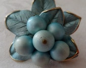 Brooch pale blue enameled leaves with cluster of blue faux pearls