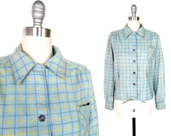 Vintage 1940s Blouse | Blue and Yellow Plaid 1940s Shirt | medium - large