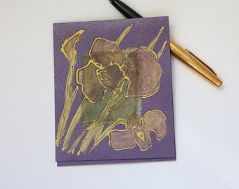 Blank art greeting card - Purple flowers - handmade greeting card - gold, green, purple - fantasy flowers - unique artwork - OOAK