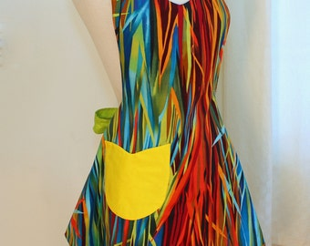 Vintage Apron, Everglades Stripes Womens Apron