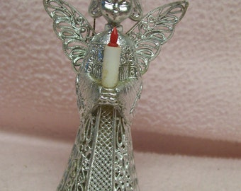 Silver Filagree Angel Ornament Vintage Angel with Candle 1950s Mid Century Retro Holiday Tree Ornament