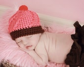 Cupcake Hat Newborn Photo Prop Baby Girl Desserts Sweet Shop Theme Pink Chocolate Brown Red Crochet Beanie