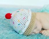 Ice Cream Hat Newborn Photo Prop Baby Girl Crochet Beanie