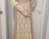 Vintage Gunne Sax Wedding Dress by Jessica McClintock Ecru Satin-Size 8-10